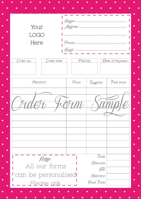Business Store Forms  Order Form  Custom Order Form  Printable