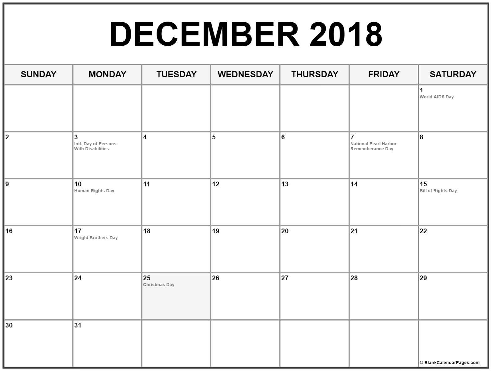 December 2018 Calendar With Holidays Printable Calendar Usa Uk
