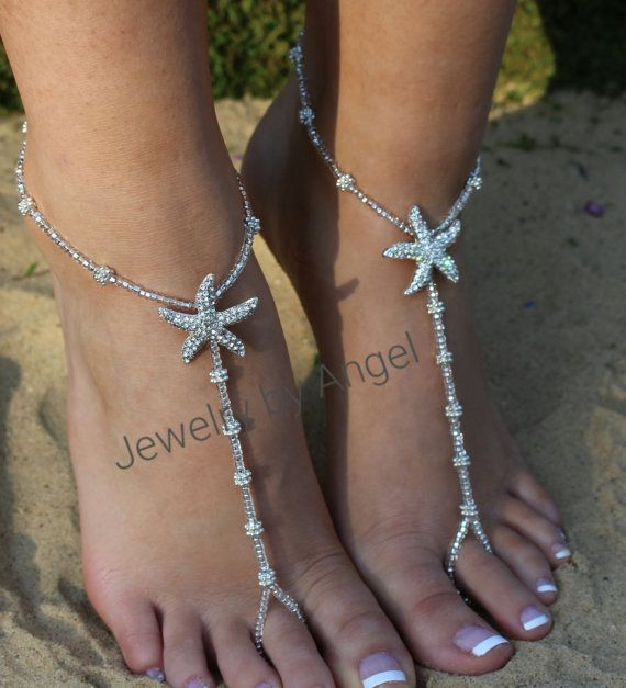 Crystal Rhinestone Starfish Foot Jewelry Wedding Starfish Barefoot