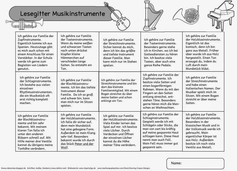 """Lesegitter zum Thema """"Musikinstrumente""""   Da ich dieses Schuljahr wied… – Jana Weygandt"""