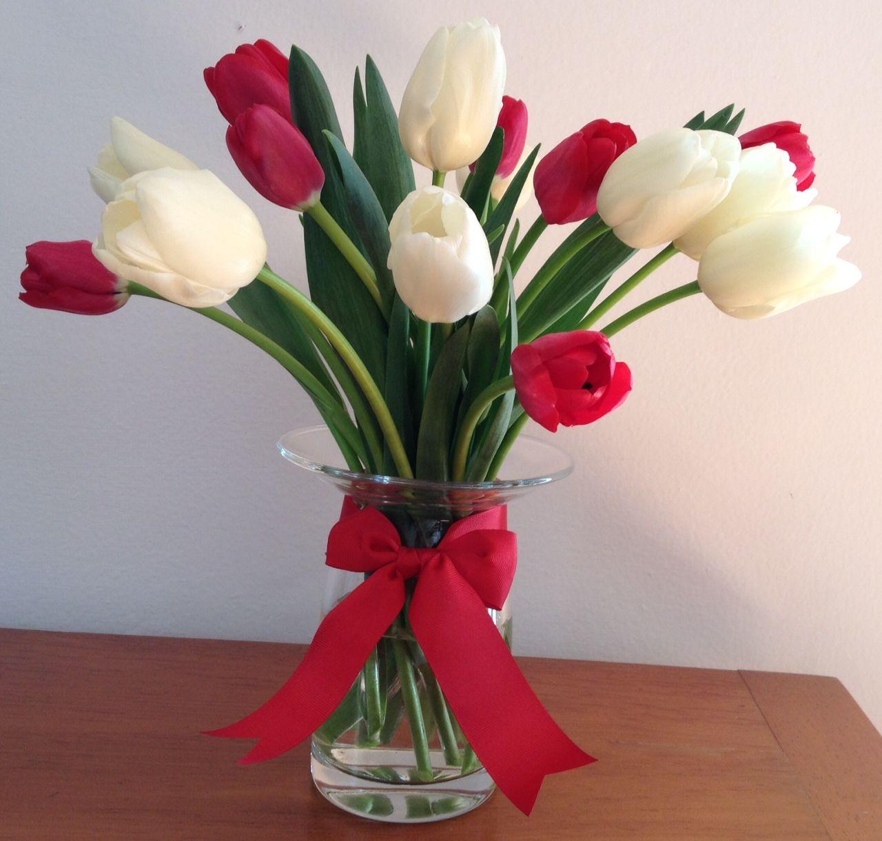Flores2home Combinación De Tulipanes En Blanco Y Rojo En