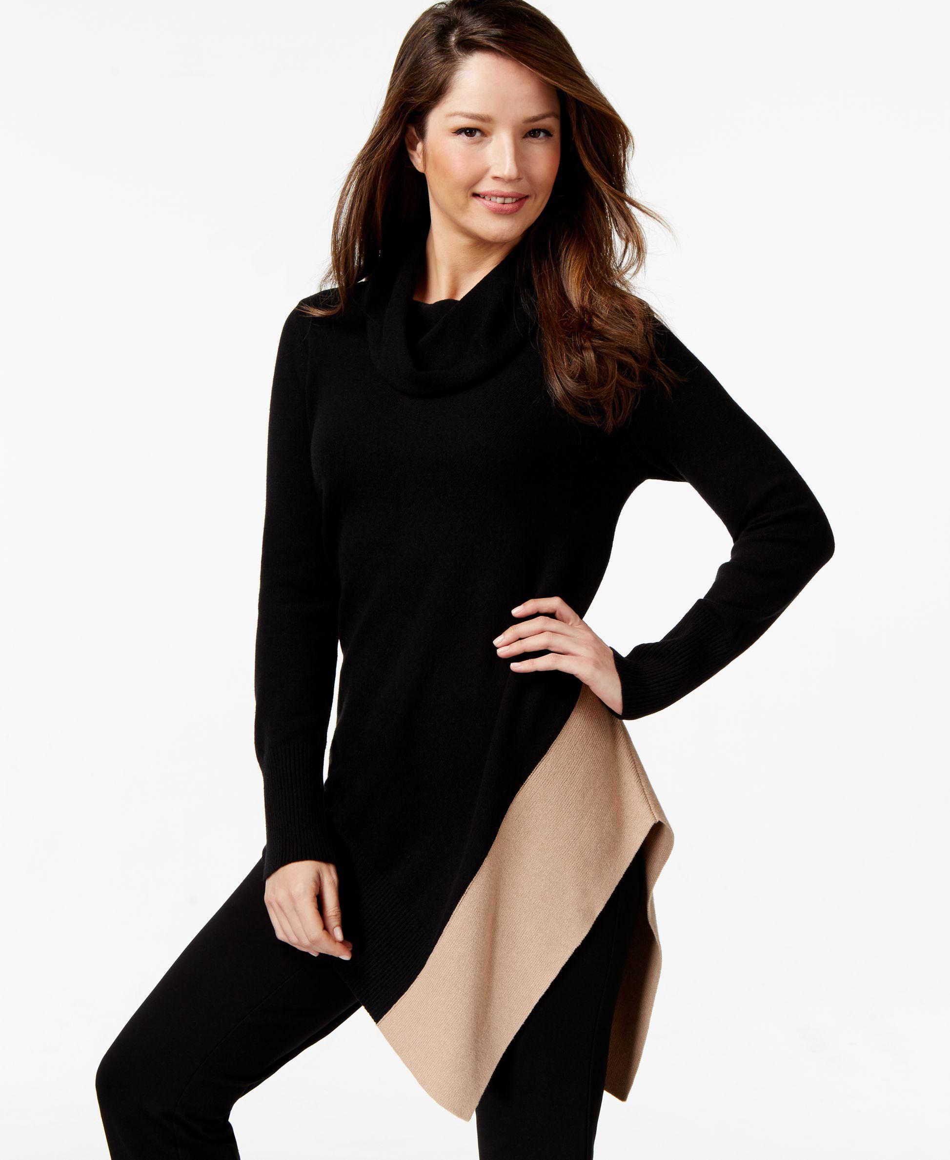 Alfani Petite Cowl-Neck Asymmetrical-Hem Sweater, Only at Macy's ...
