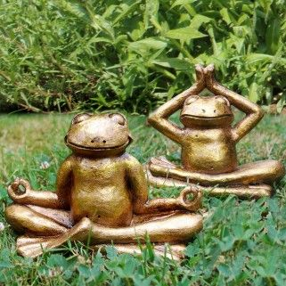 Resin Yoga Frog Garden Ornament In Gold Coloured Finish   Two Designs  Available