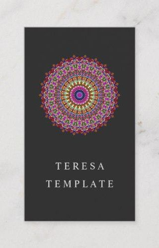 Colorful Floral Geometric Mandala Business Card for $23.15 #DavidZydd #print #BusinessCard #meditati...