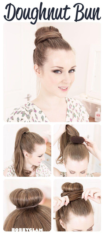 آموزش تصویری بافت مو hairstyle pinterest donut bun fun