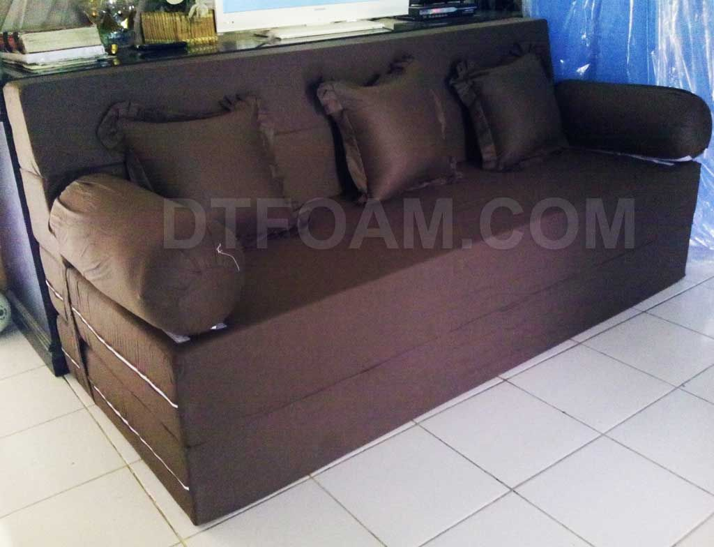 Sofa Bed Lipat Murah Di Surabaya Places To Buy Sofas In Lincoln Minimalis Coklat Tua Polos Special Inoac Edition