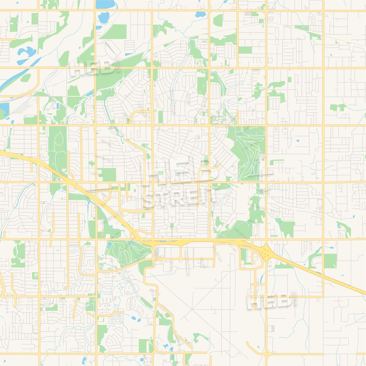 Empty vector map of Midwest City, Oklahoma, USA This printable road