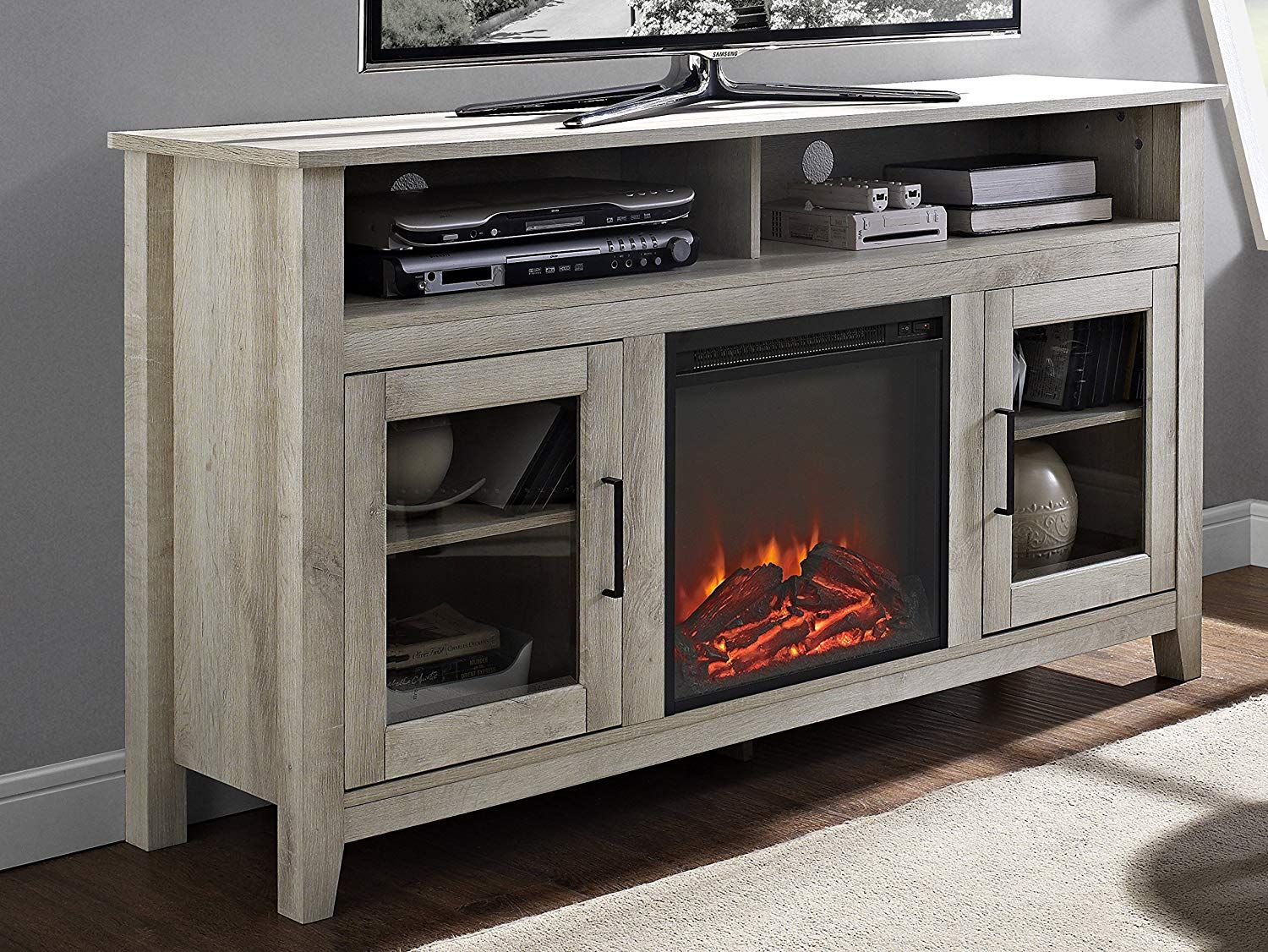 Amazon Com We Furniture 58 Wood Highboy Fireplace Media Tv Stand Console White Oak Kitchen Dining Fireplace Media Console Media Electric Fireplace Fireplace Tv Stand