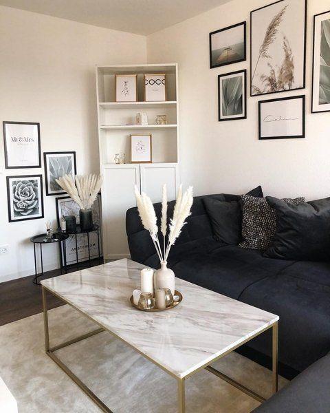 Photo of Table basse effet marbre blanc avec pieds dorés DELANO #allwhiteroom
