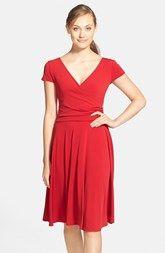 Maggy London Cap Sleeve Matte Jersey Faux Wrap Dress