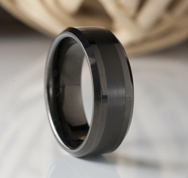 Men Tungsten Ring Gunmetal Black Color Wedding Band Male 8mm Size 5 To 15 Beveled Brushed Design Great His Anniversary Engagement Gift Idea Tungsten Mens Rings Black Tungsten Carbide Ring Tungsten Ring