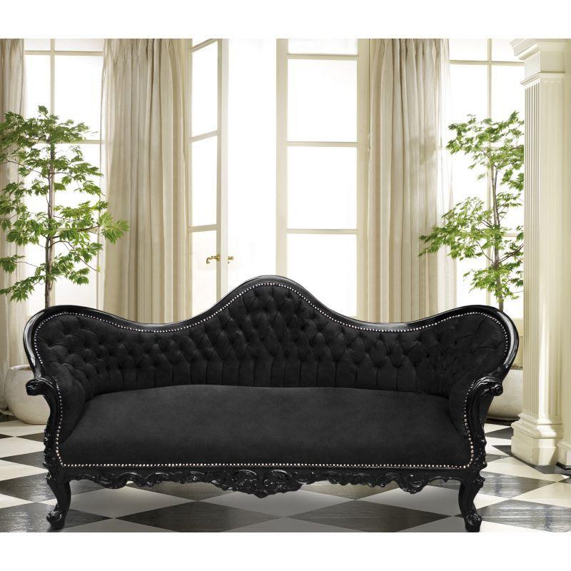 Canapé baroque Napoléon III tissu velours noir et bois laqué noir ...