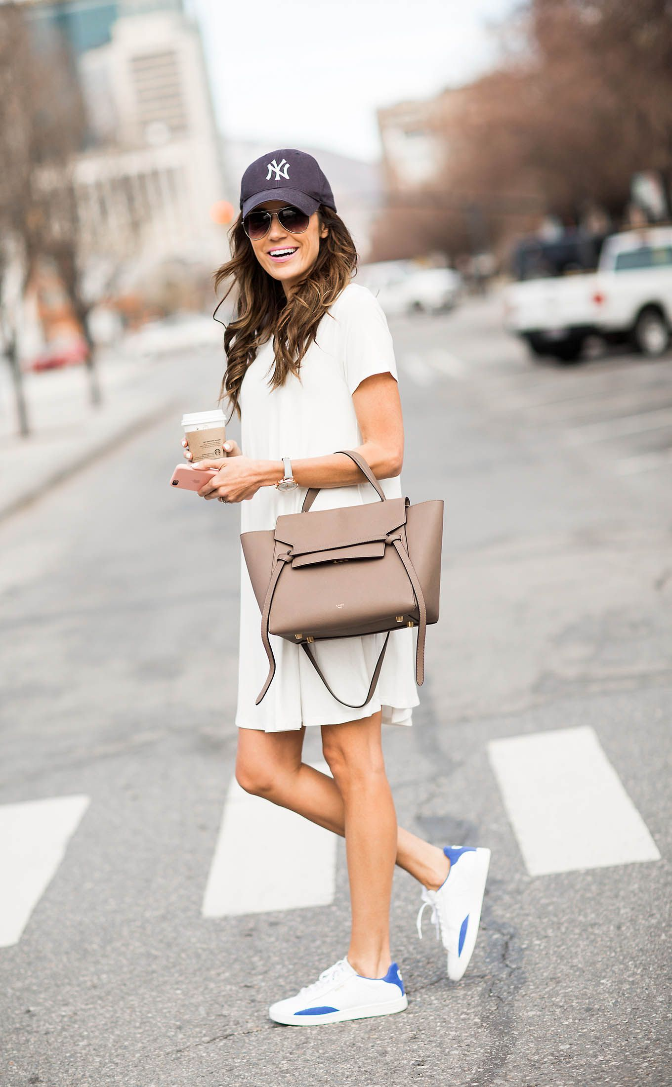 3 Ways To Wear Your Favorite Sneakers From Day To Night Hello Fashion Sneaker Outfits Women Casual Dress Outfits Dress With Sneakers [ 2200 x 1360 Pixel ]