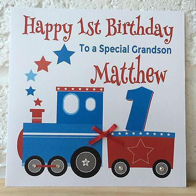 Handmade Personalised Train Birthday Card First 1st 2nd 3rd Grandson Son Nephew Hand Made Cards Car First Birthday Cards 1st Birthday Cards Birthday Cards