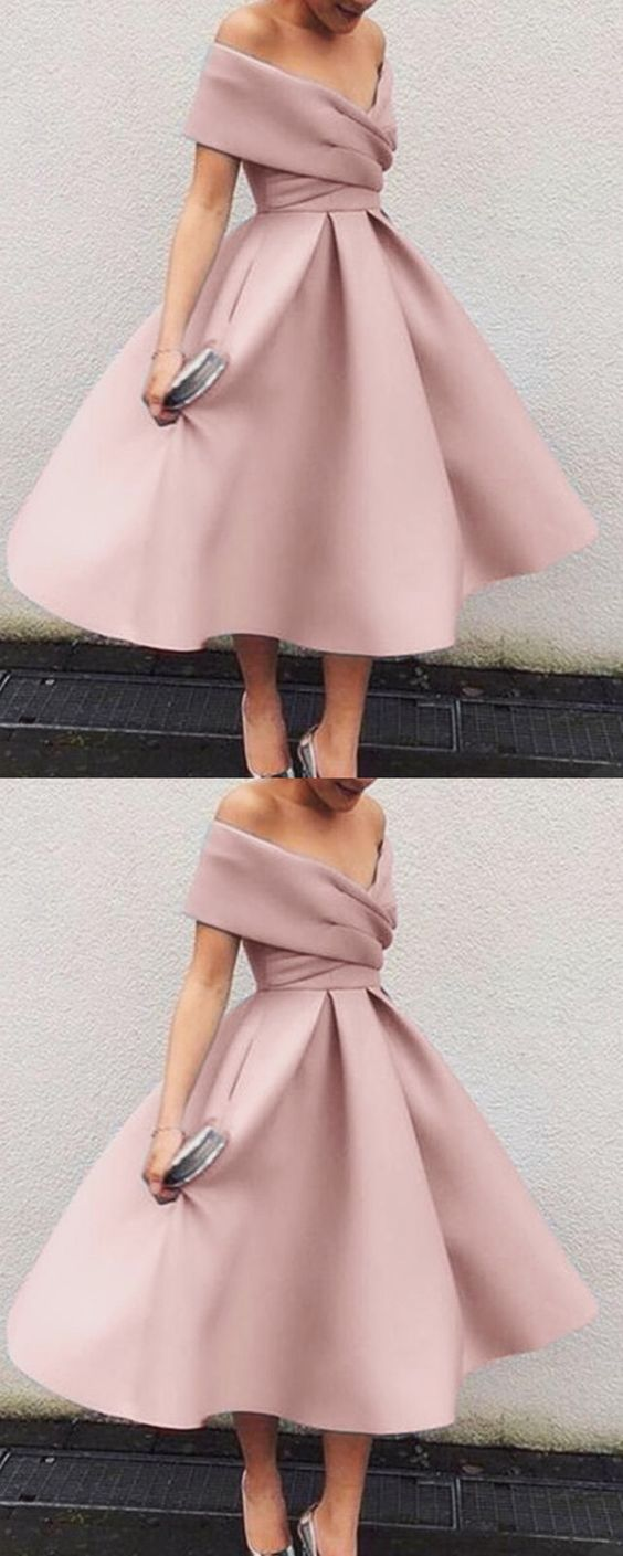 Vintage 1950s Style V Neck Off The Shoulder Tea Length Ball Gowns Party Dresses M5111 1950s Fashion Dresses Vintage 1950s Dresses Vintage Party Dresses [ 1409 x 564 Pixel ]