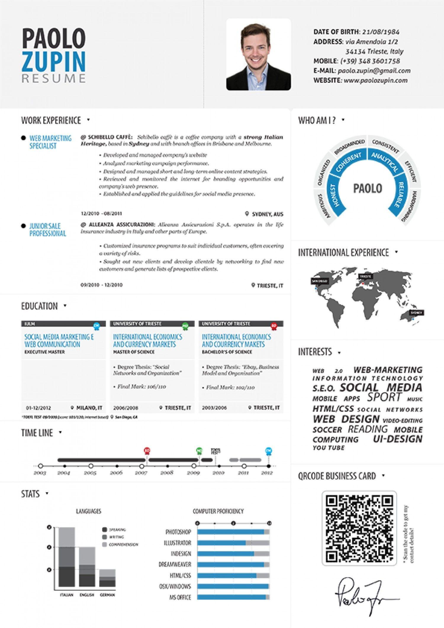 Paolo Zupin Infographic Resume Visual Ly Curriculum Vitae Modele Cv Gratuit Modele De Cv Creatif