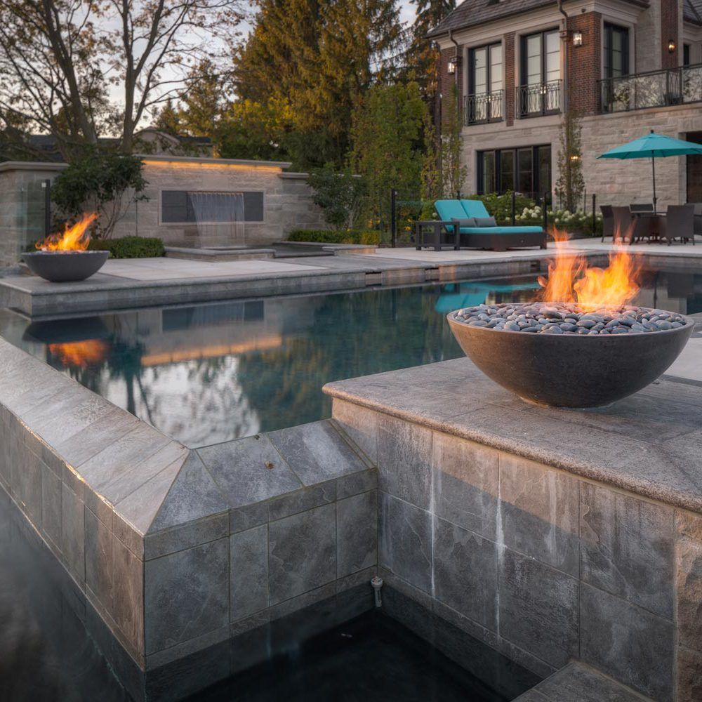 Miso modern fire pit is a natural gas or propane outdoor fire bowl