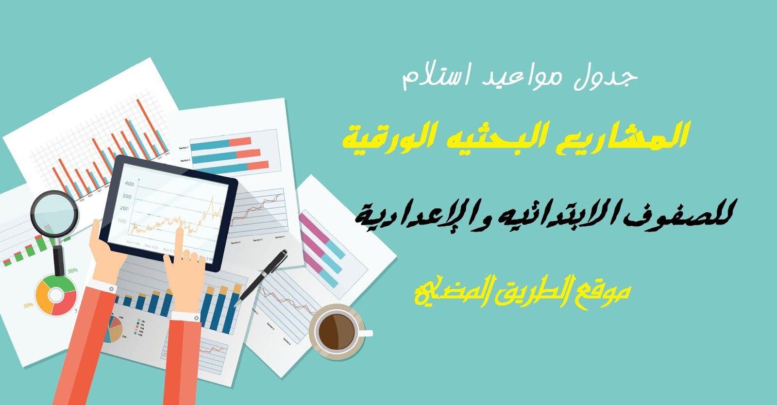 جدول مواعيد استلام المشاريع البحثيه الورقية للصفوف الابتدائيه والإعدادية