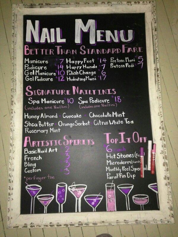 Nail Service Menu Idea In 2020 Nail Salon Design Nail Salon Decor Home Nail Salon