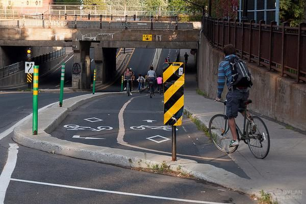 Bike lane underpass, Montreal. Click image for more photos by Dylan Passmore and visit the slowottawa.ca boards >> https://www.pinterest.com/slowottawa/