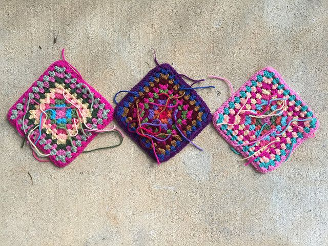 three ten-round granny squares crochet squares, crochetbug, crochet purse, crochet tote, flamingo palette