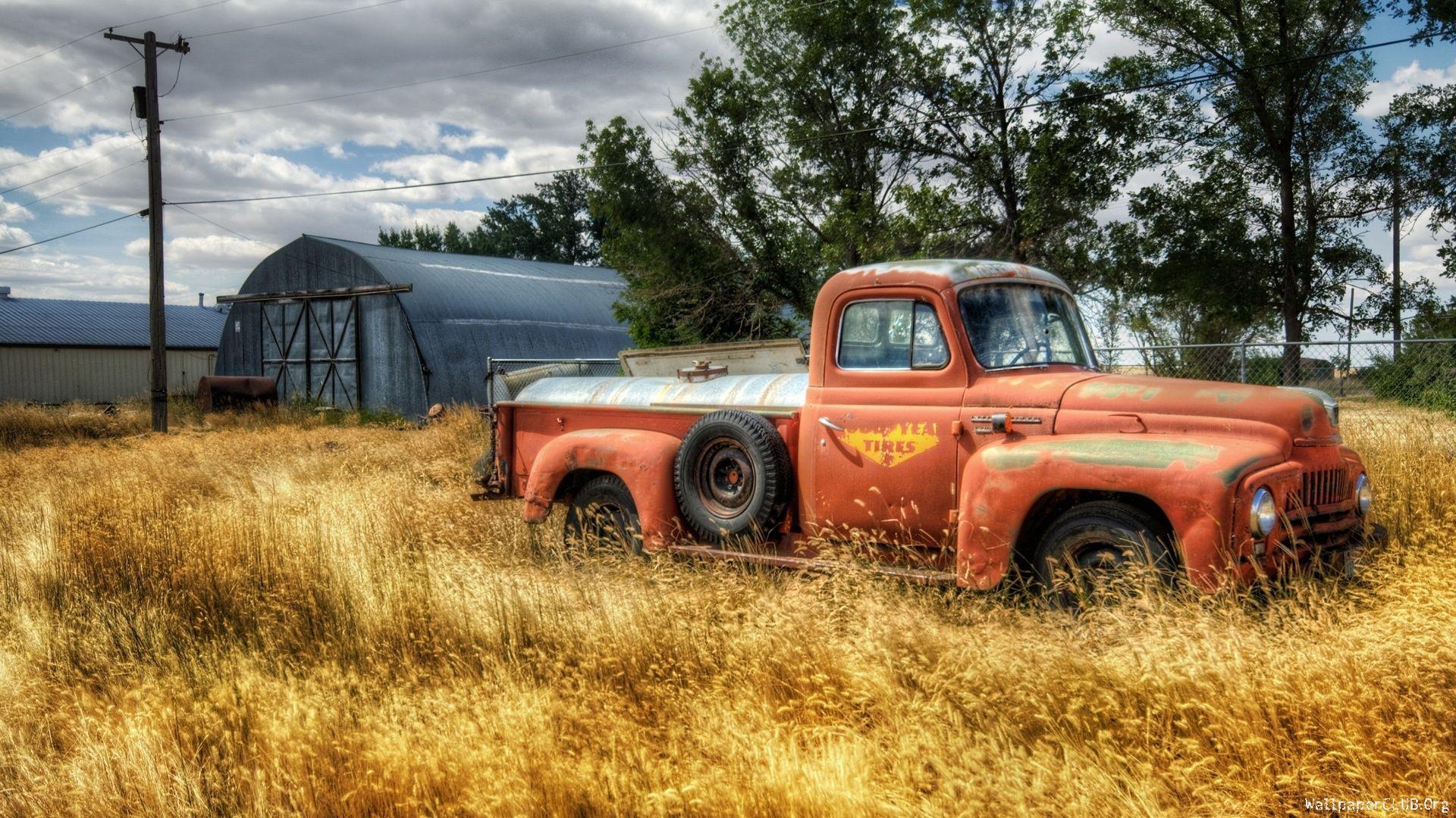 vintage trucks | Old Rusty Orange Vintage Pickup Truck Against Blue ...
