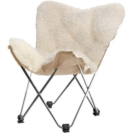 Awesome Luxe Faux Fur Butterfly Chair, White