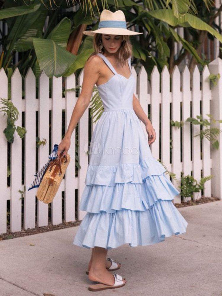 Long Summer Dress Straps Ruffles Layered Light Blue Slip Dress Flounced Dress Long Summer Dresses Summer Dresses