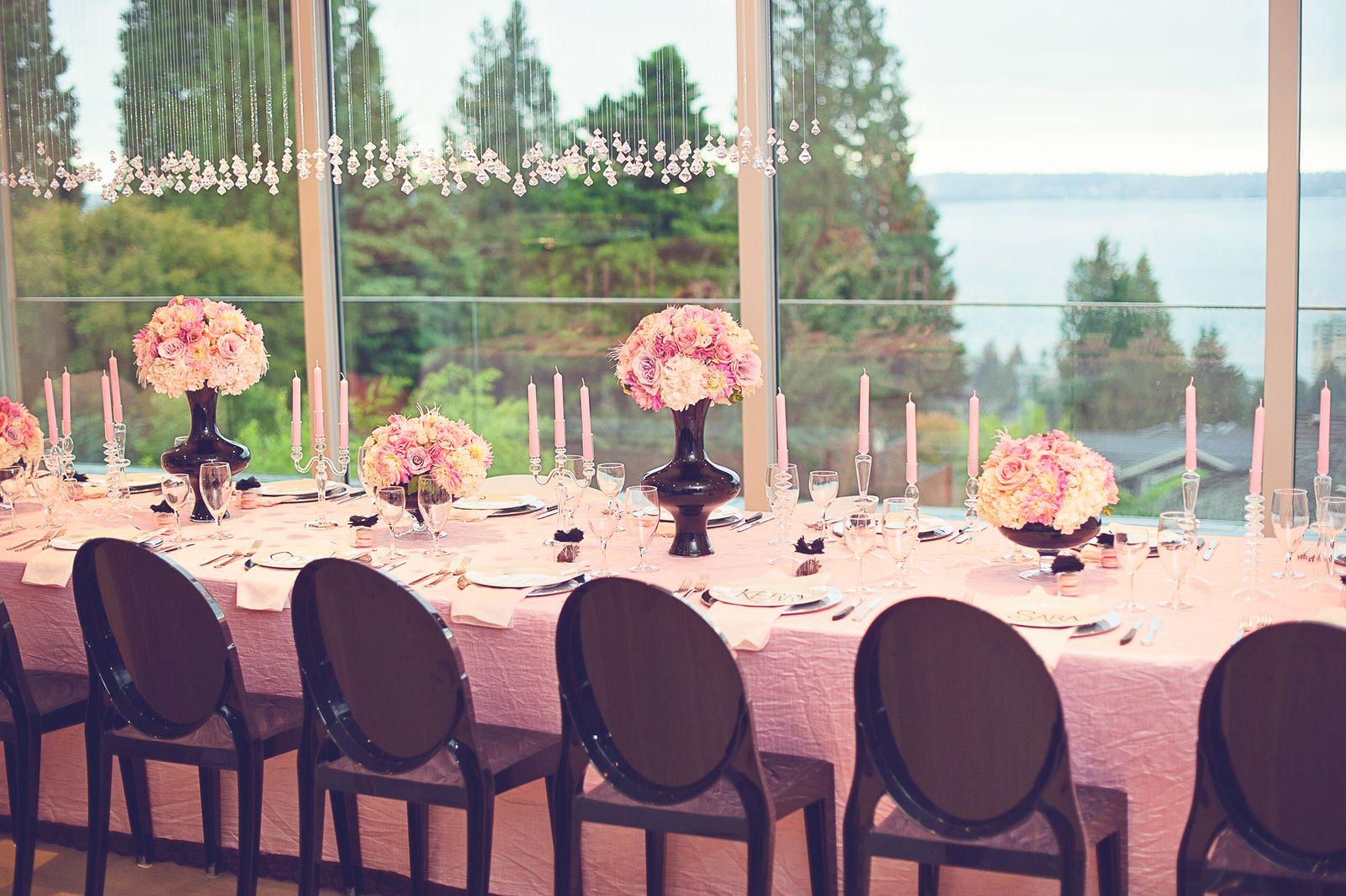 Chanel wedding diy crystal chandeliers pink and black reception