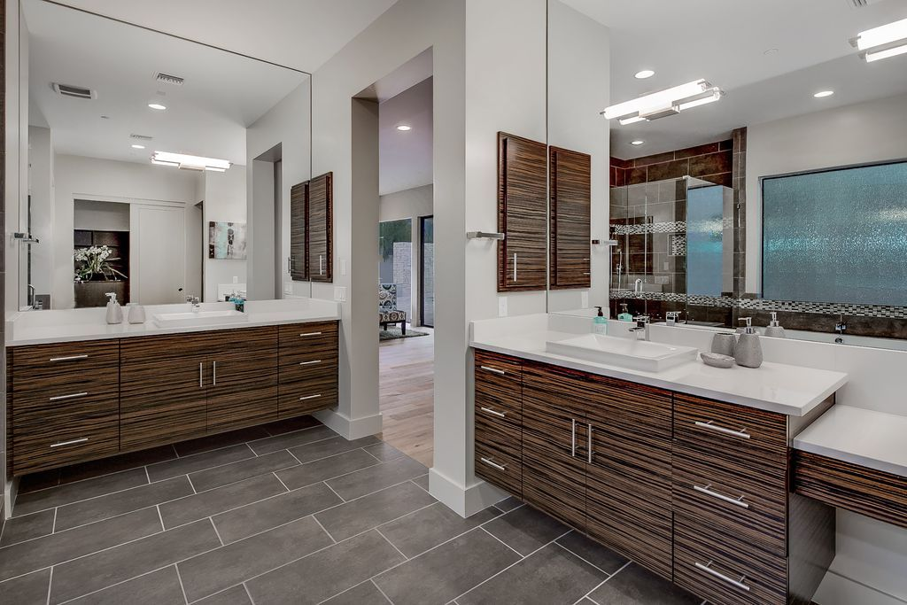 Grey Ceramic Tile Flooring In Modern Bathroom With Cool Colors And