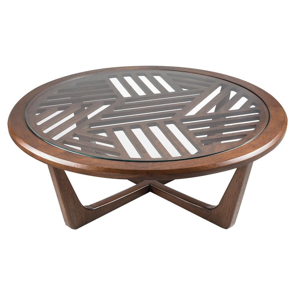 Adriana Hoyos Rumba Modern Classic Glass Top Brown Slatted Wood Round Coffee Table In 2021 Coffee Table Wood Round Wood Coffee Table Coffee Table [ 1000 x 1000 Pixel ]
