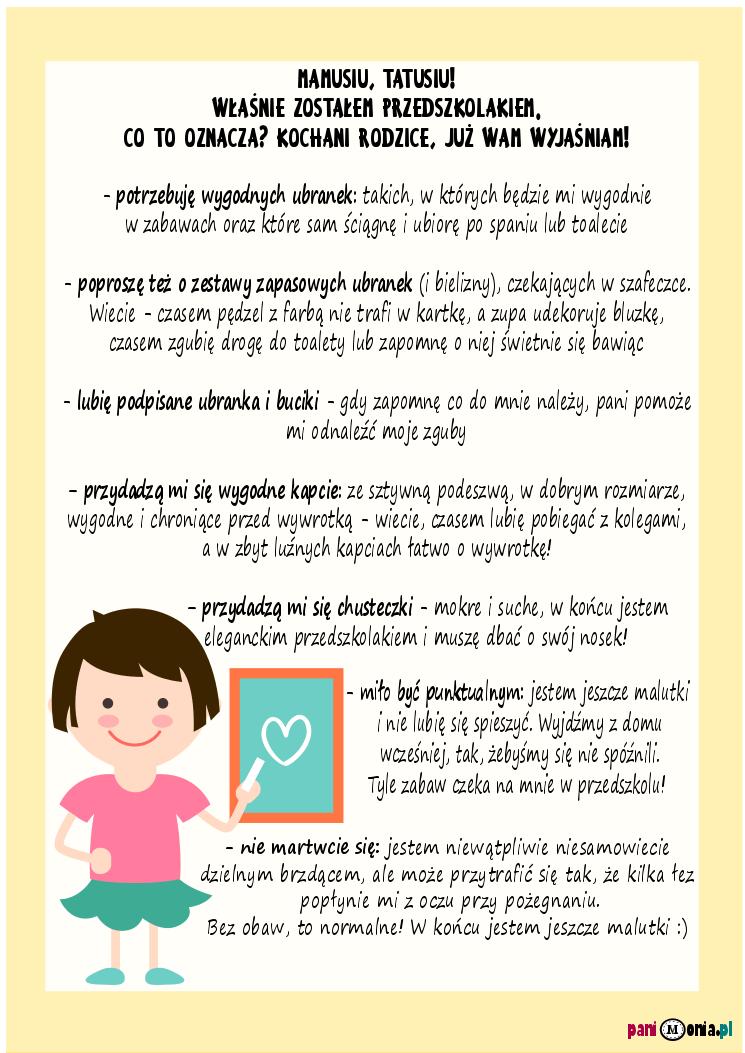 List Przedszkolaka Do Rodziców Adaptacja Przedszkola I
