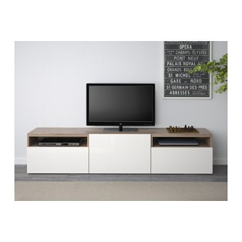 BESTÅ Tv-meubel - grijs gelazuurd walnootpatroon/Selsviken hoogglans/wit, laderail, zachtsluitend - IKEA