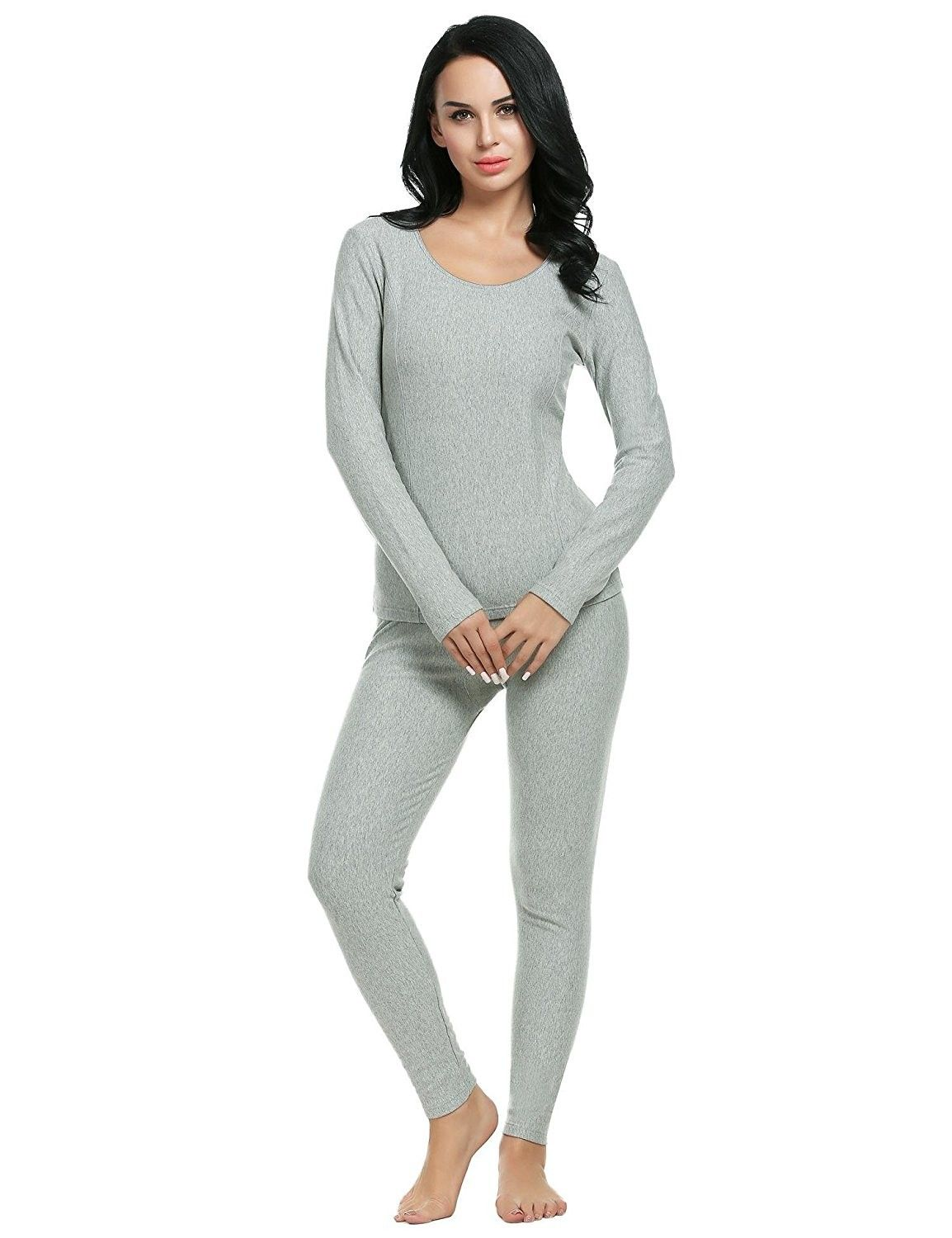 Ekouaer Thermal Underwear Long Fleece Lined Winter Base Layering Set for Women
