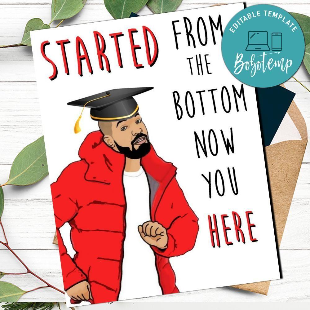 Drake funny college graduation card to print at home diy