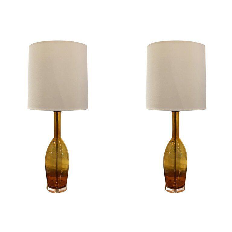 Pair Of Murano Glass Table Lamps By Balboa Imported Lighting In 2020 Glass Table Lamp Table Lamp Modern Murano