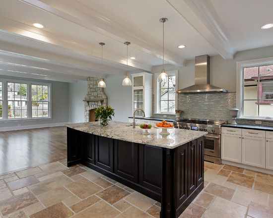 Magnificent Traditional House With Eclectic Interior: Fabulous Kitchen  Design For New Construction Travertine Tile Floor