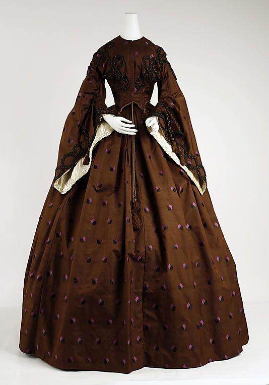 Vestido de 1858, Americana, hecho de seda