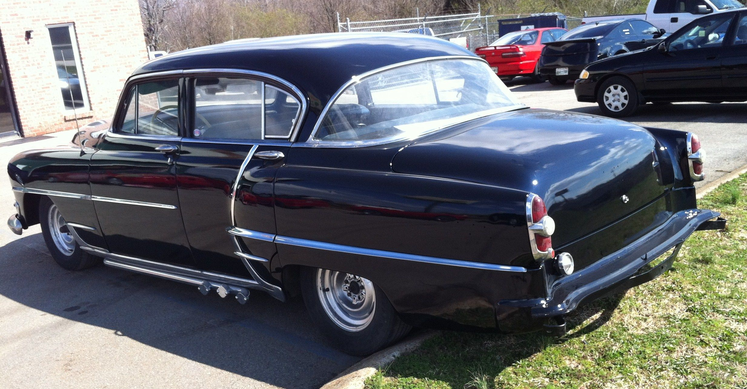 Sun visor added and bumpers on 1954 chrysler new yorker frankenstein pinterest low rider and cars