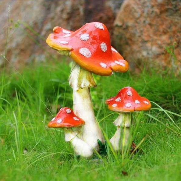 Resin Mushroom House Garden Ornament Miniature Plant Pots Fairy Dollhouse 3