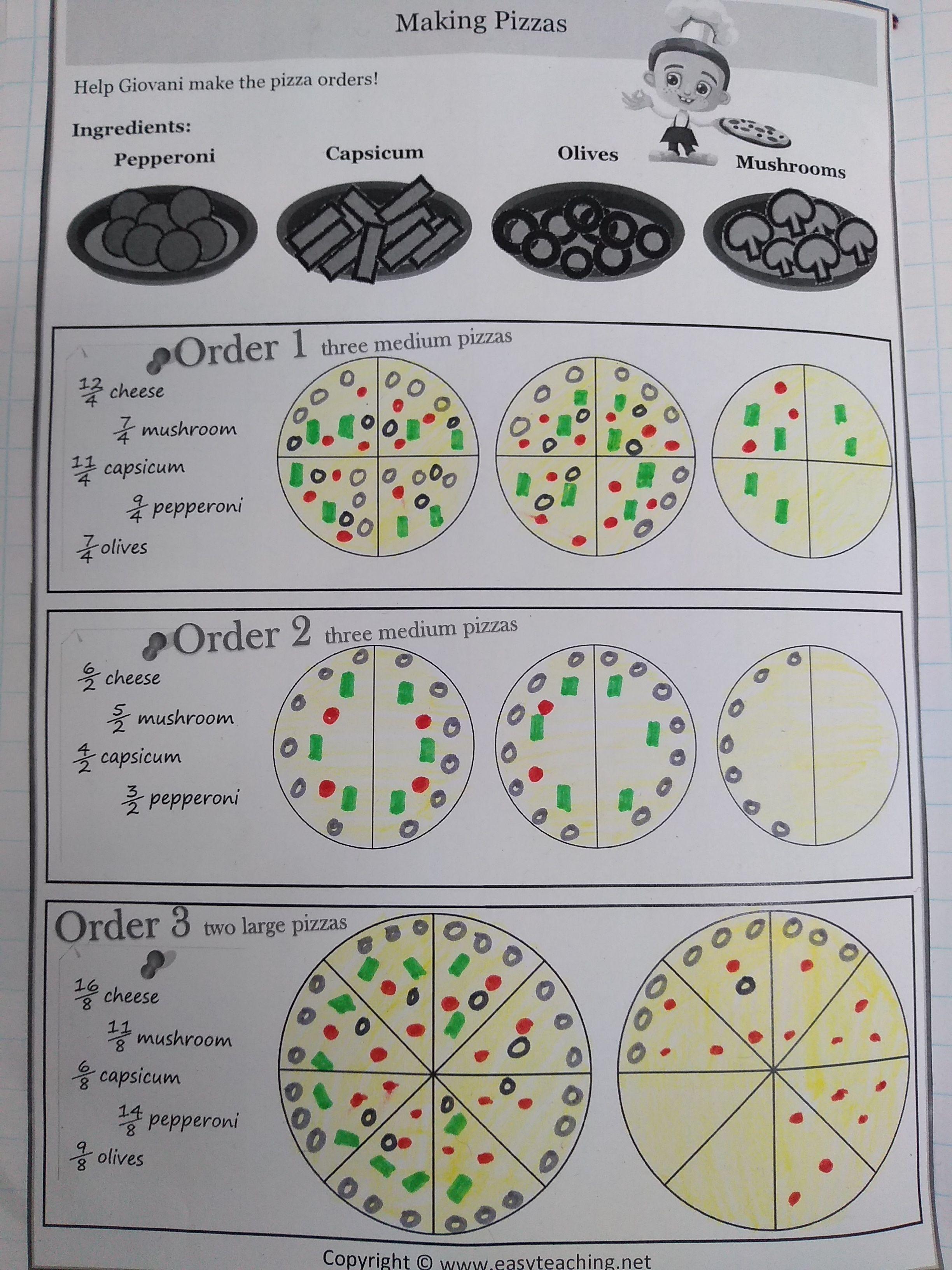 Improper Fraction Practice Using Pizza Recipes