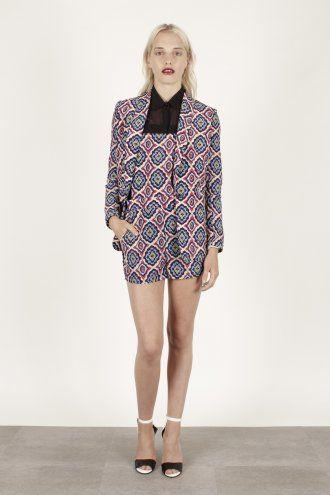 Multicoloured Super Soft Paisley Print Silk Tailored Jacket