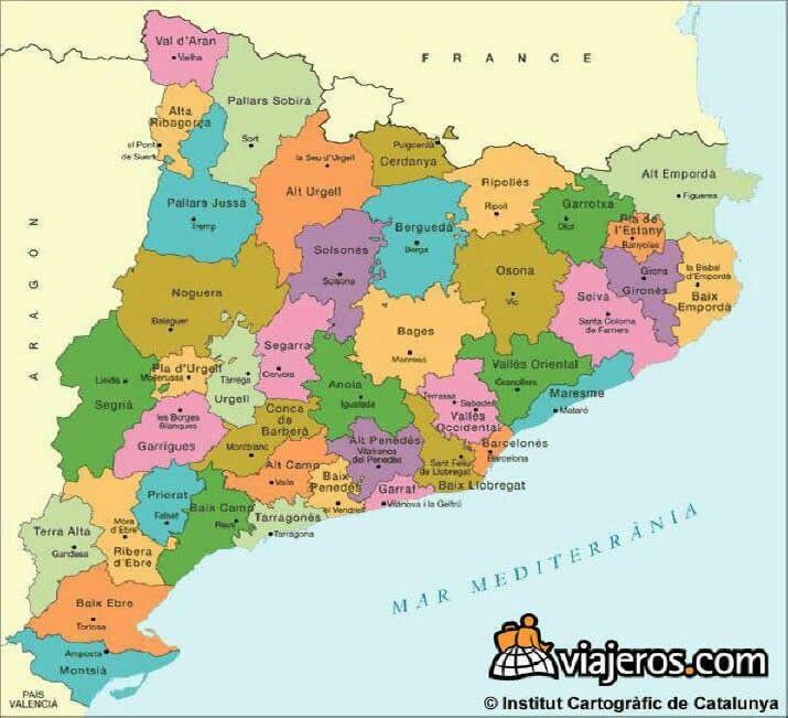 Mapa De Les Comarques De Catalunya I Capitals.Les Comarques Amb Les Seves Capitals Mapa De Espana Mapas