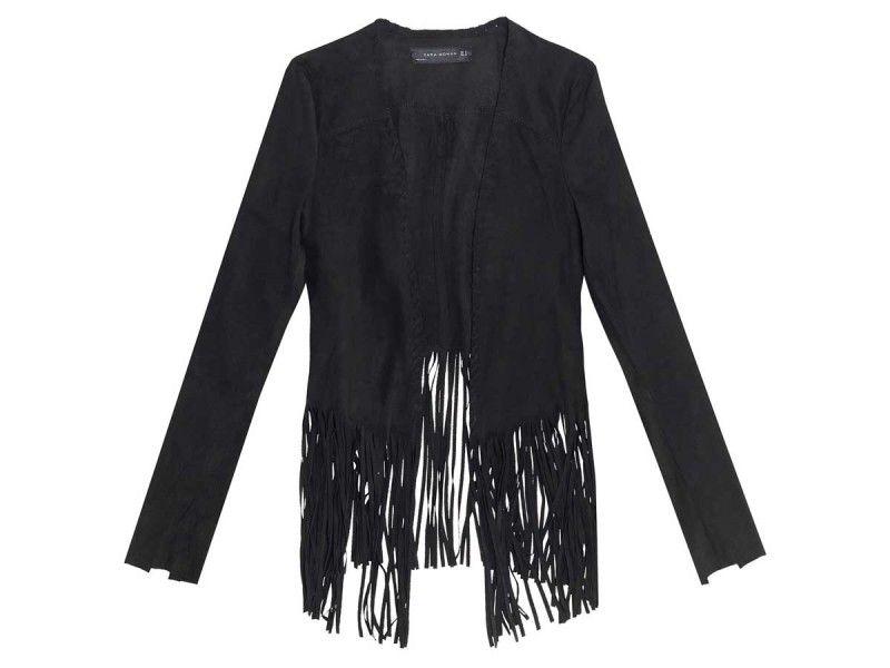 Black suede fringe jacket zara
