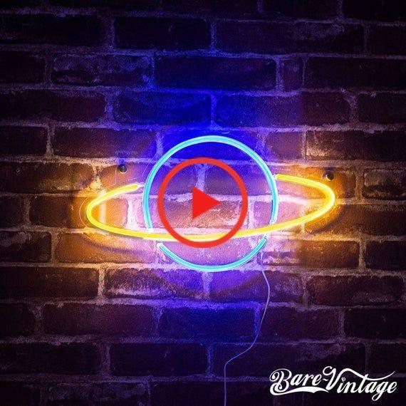 Planet LED Neon Bar Sign Handmade Space Neon Light Custom