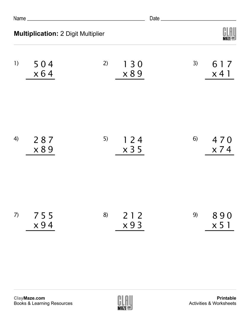 Practice Worksheet For Students Learning How To Multiply With 2 Digit Multipliers Multiplication Worksheets Multiplication Math Practice Worksheets