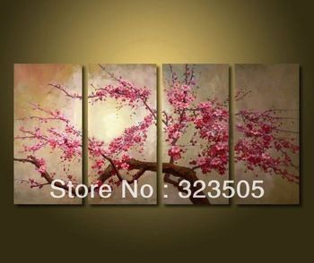 4 Piece Canvas Wall Art Modern Abstract Pink Cherry Blossom Tree Art Picture Oil Painting Abstract Flower Art Cherry Blossom Painting Flower Painting Canvas