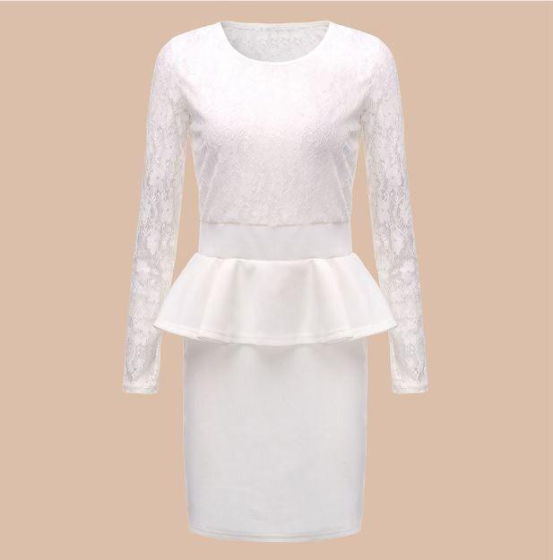 8fc645a97 Moderní dámské peplum party krajkové šaty s bílou sukní – Velikost L Na  tento produkt se vztahuje nejen zajímavá sleva, ale také poštovné zdarma!