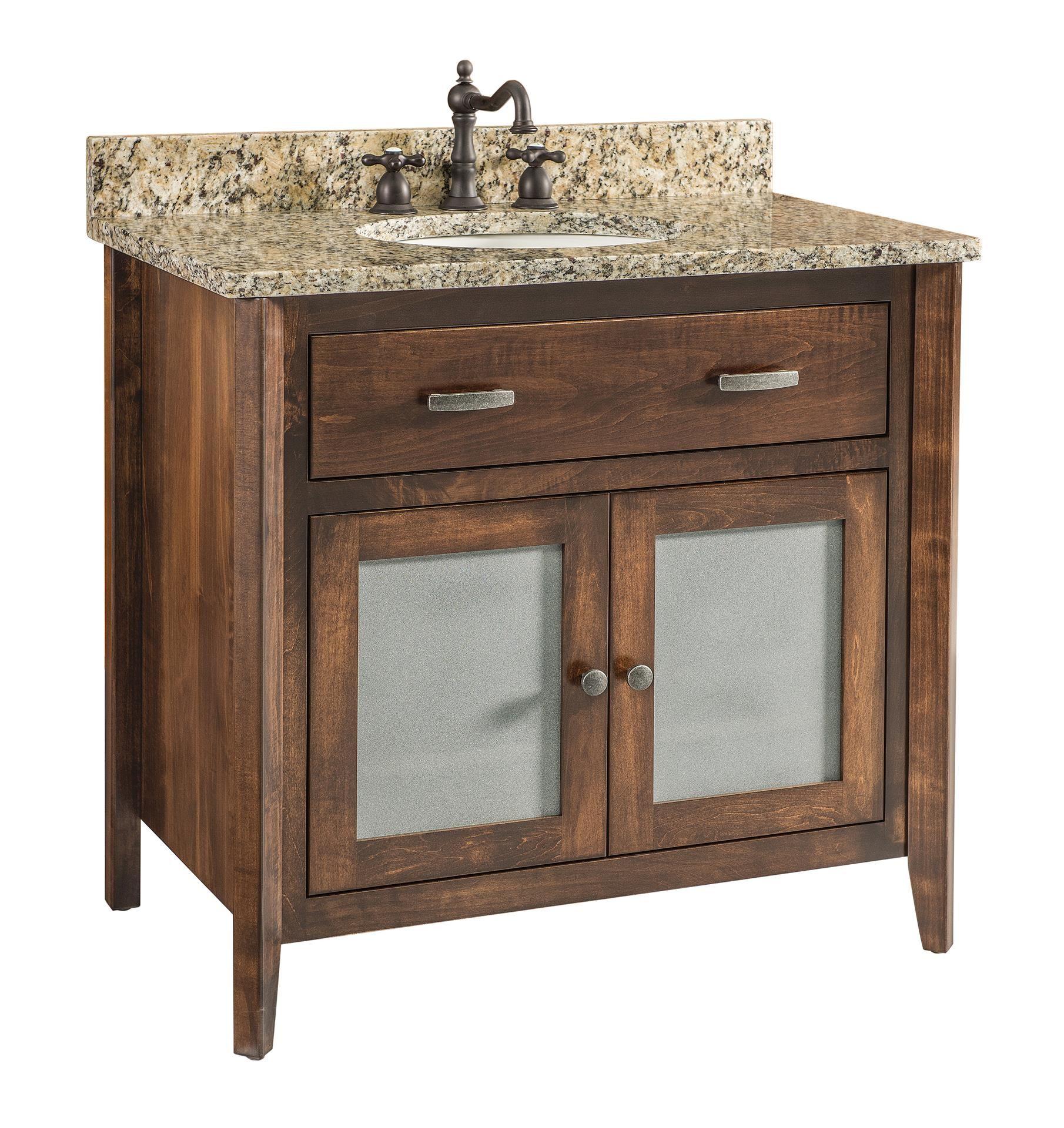 Quick Ship Stanford Medium Brown Maple Free Standing Bathroom