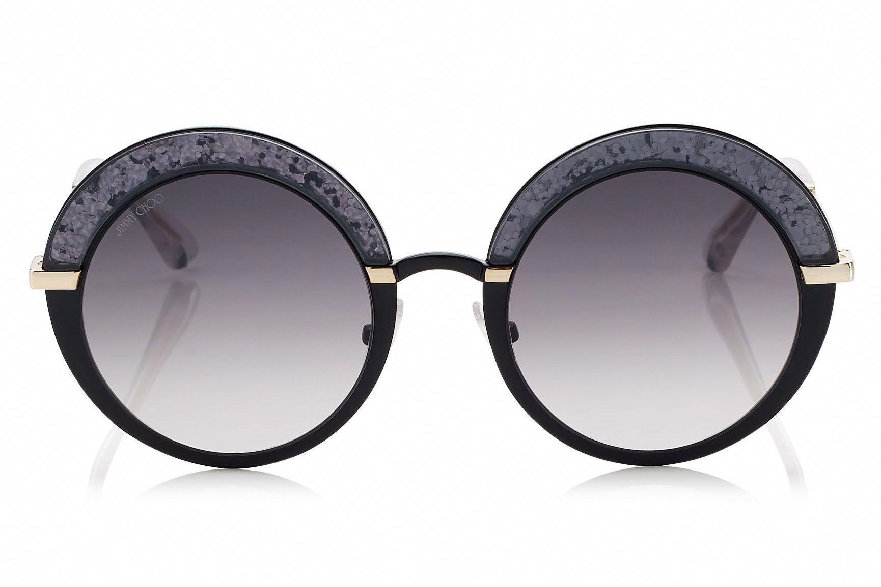 ede463857dbf Jimmy Choo - Gotha Black Gold and Glitter Round Framed Sunglasses  JimmyChoo